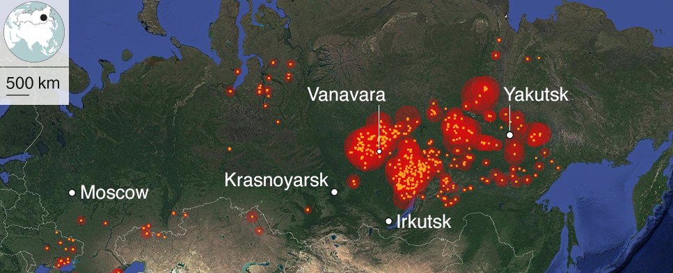 NASA map of Russia showing fire clusters south of Moscow and in Siberia