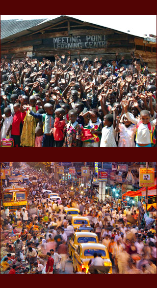 dense crowd outside community center in Africa; crowded steet in India