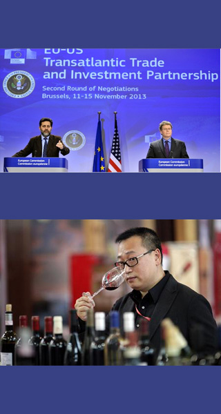 Ignacio Garcia Bercero and Dan Mullaney at TTIP session; man in China tasting wine;