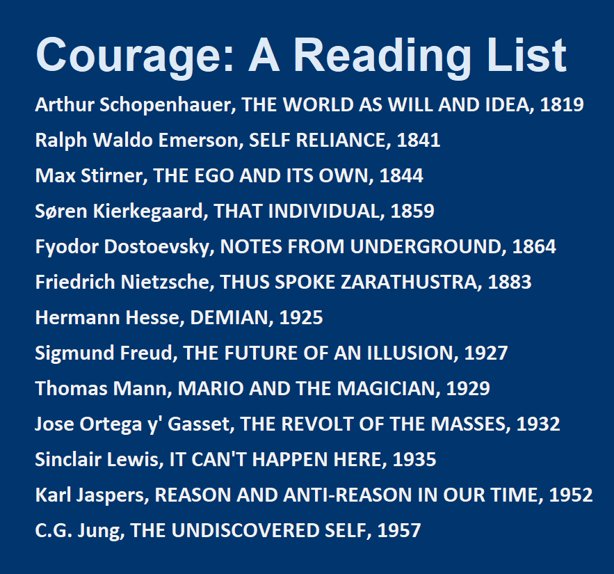 Courage: A Reading List:<br /> Arthur Schopenhauer, THE WORLD AS WILL AND IDEA, 1819; Ralph Waldo Emerson, SELF RELIANCE, 1841<br /> Max Stirner, THE EGO AND ITS OWN, 1844; Søren Kierkegaard, THAT INDIVIDUAL, 1859<br /> Fyodor Dostoevsky, NOTES FROM UNDERGROUND, 1864; Friedrich Nietzsche, THUS SPOKE ZARATHUSTRA, 1883<br /> Hermann Hesse, DEMIAN, 1925; Sigmund Freud, THE FUTURE OF AN ILLUSION, 1927<br /> Thomas Mann, MARIO AND THE MAGICIAN, 1929; Jose Ortega y' Gasset, THE REVOLT OF THE MASSES, 1932<br /> Sinclair Lewis, IT CAN'T HAPPEN HERE, 1935; Karl Jaspers, REASON AND ANTI-REASON IN OUR TIME, 1952; C.G. Jung, THE UNDISCOVERED SELF, 1957