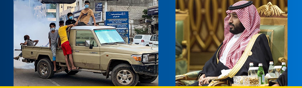 2 photos; boys wearing masks, riding in back of pickup truck on crowded Aden street; Mohammed bin Salman