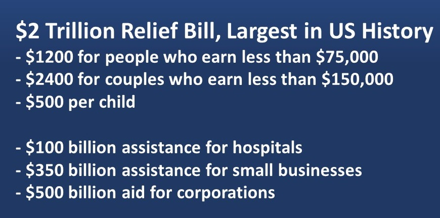 Details of $2 Trillion US Relief Bill, Largest in US History:<br /> -	$1200 for people who earn less than $75,000, -	$2400 for couples who earn less than $150,000, -	$500 per child; -	$100 billion assistance for hospitals; -	$350 billion assistance for small businesses; -	$500 billion aid for corporations