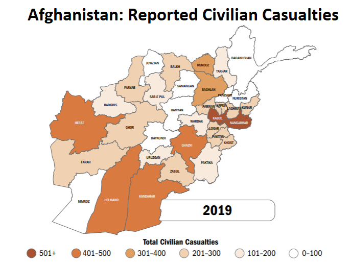 map of Afghanistan showing areas with most civilian casualties