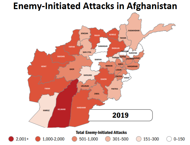 map of Afghanistan showing areas worse for attacks