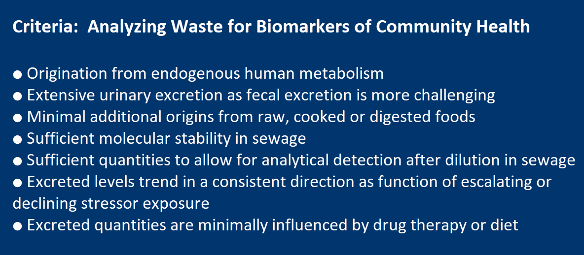 Criteria for Analyzing Waste for Biomarkers of Community Health ● Origination from endogenous human metabolism ● Extensive urinary excretion as fecal excretion is more challenging ● Minimal additional origins from raw, cooked or digested foods ● Sufficient molecular stability in sewage ● Excreted in quantities sufficiently high to allow for analytical detection after dilution in sewage ● Excreted levels trend in a consistent direction as a function of escalating or declining stressor exposure ● Excreted quantities are minimally influenced by drug therapy or diet
