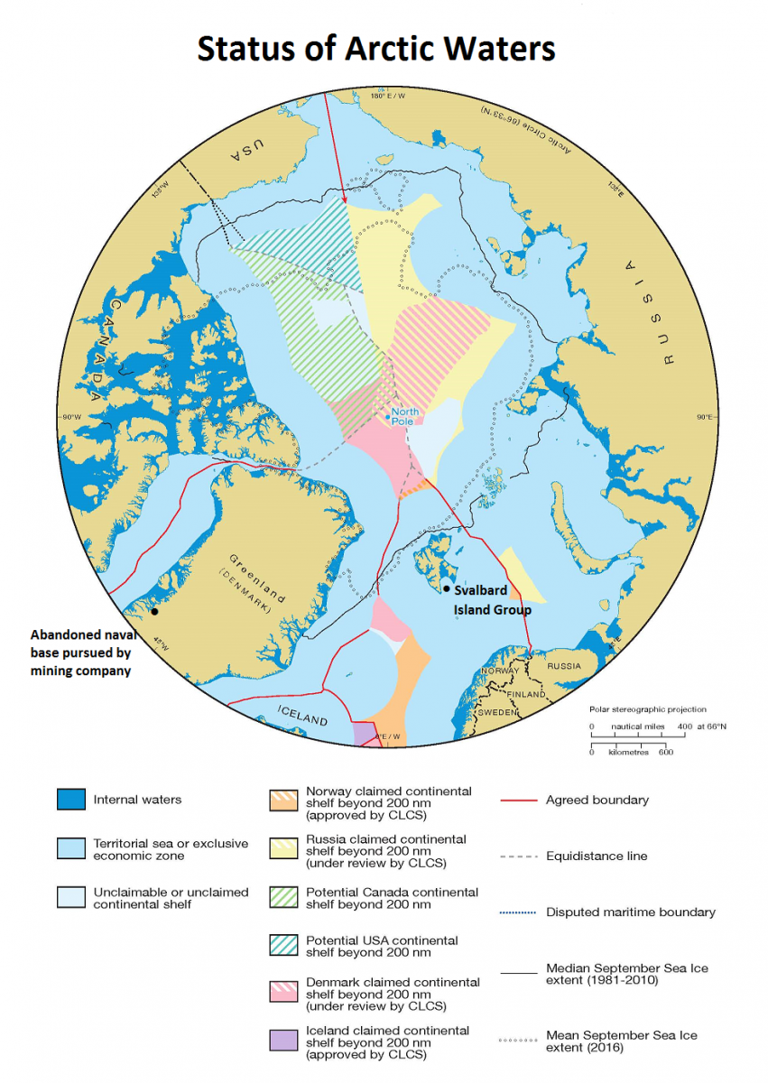 map showing claims by norway russia canada the us denmark and iceland