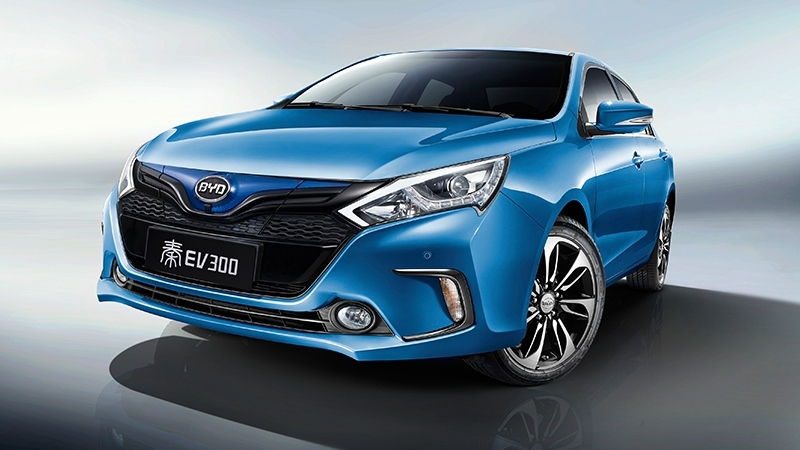 blue BYD electric car made in China