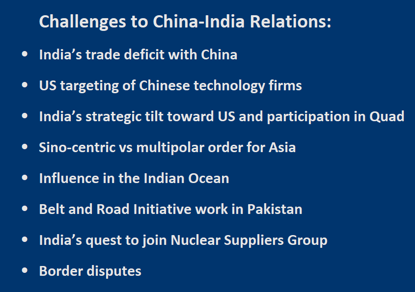 Challenges to China-India Relations:  -	India's trade deficit with China  -	US targeting of Chinese technology firms -	India's strategic tilt toward US and participation in Quad -	Sino-centric vs multipolar order for Asia -	Influence in the Indian Ocean -	Belt and Road Initiative in Pakistan  -	India's quest to join Nuclear Suppliers Group   -	Border disputes