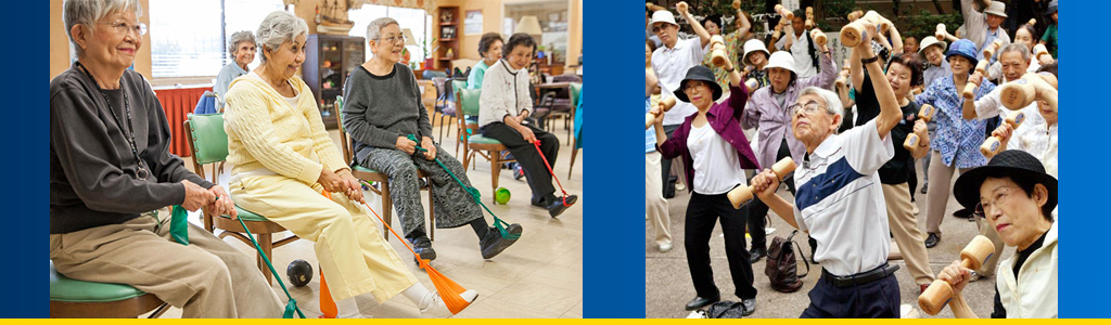 Seniors in a California home exercise while seated; Japanese elderly work out