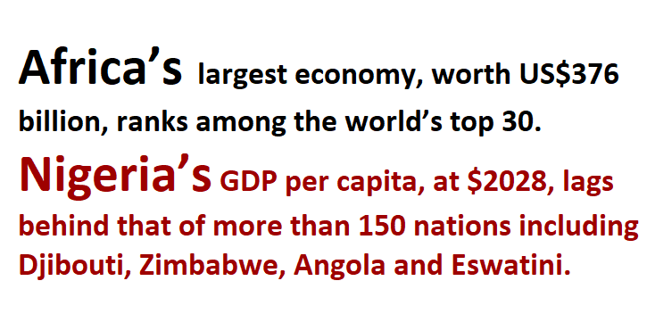Africa's largest economy, worth US$376 billion, ranks among the world's top 30.<br /> Nigeria's GDP per capita, at $2028, lags behind that of more than 150 nations including Djibouti, Zimbabwe, Angola and Eswatini.<br />