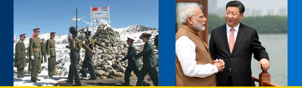 Chinese and Indian troops at standoff at India's border with Bhutan in summer 2017; India's Prime Minister Modi and Chinese President Xi meet