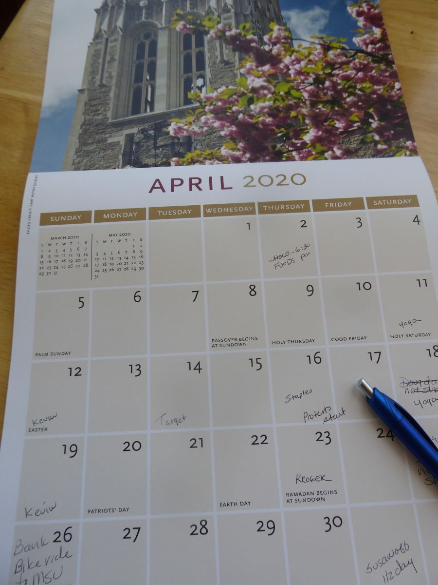 calendar page April 2020 with notes jotted