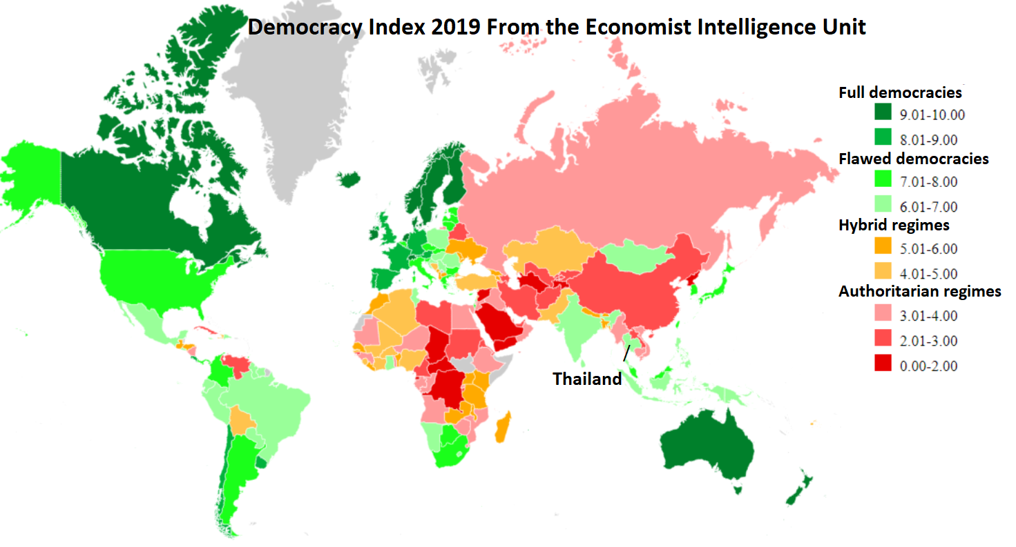 World map showing Thailand as flawed democracy