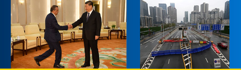 Director-General of WHO Tedros Adhanom Ghebreyesus and Chinese President Xi Jinping shake hands; empty Wuhan city street