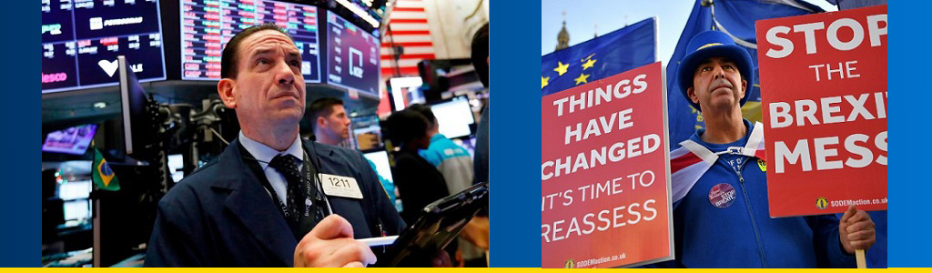 New York Stock Exchange trader stares at board; Brexit protester