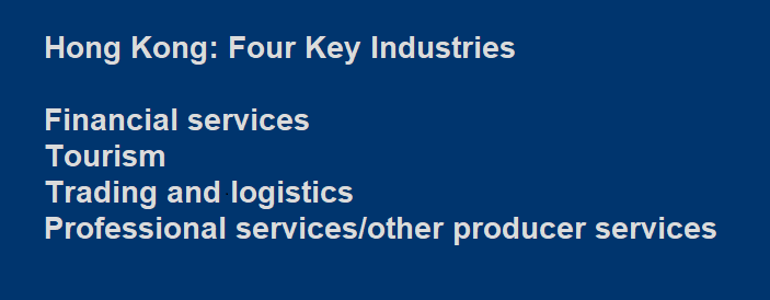Hong Kong Four Key Industries: financial services, tourism, trading and logistics and professional services
