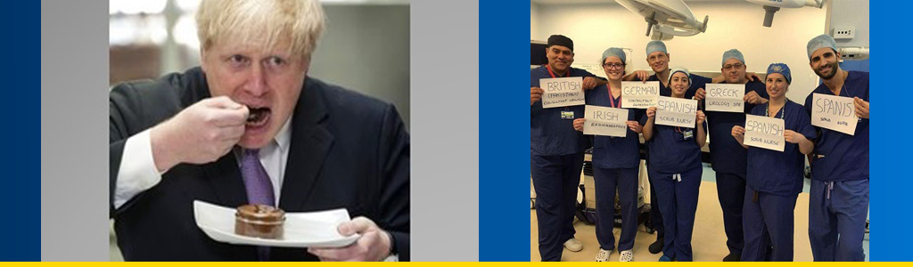 British Foreign Secretary Boris Johnson eats cake, and doctors and nurses hold up signs on their status