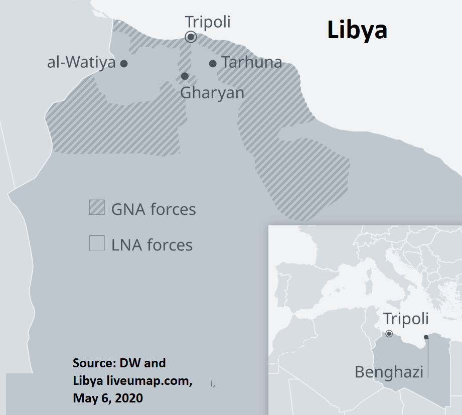 map of Libya showing May 2020 positions of GNA and LNA forces in the north