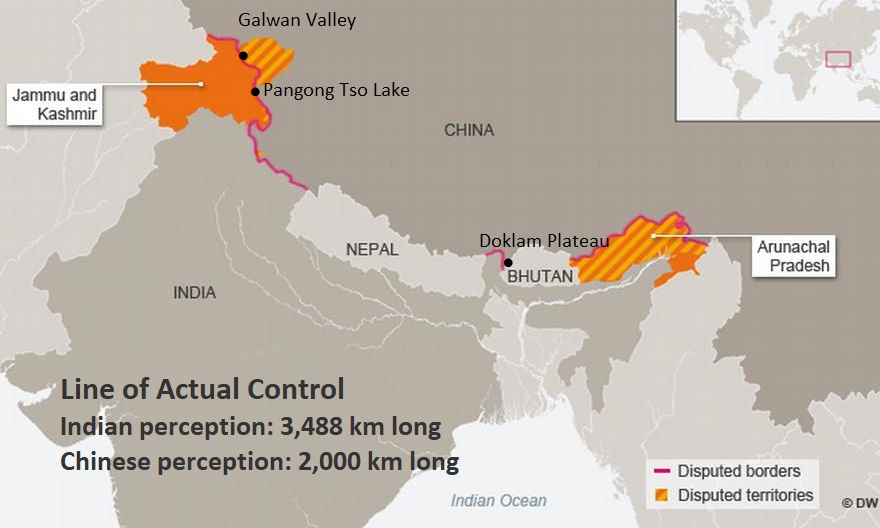 Map shows India-China border, line of actual control, territories under dispute: Line of Actual Control Indian perception: 3,488 km long Chinese perception: 2,000 km long; Western sector: Indian claims 38,000 square kilometers in Aksai Chin, under Chinese control. 5,180 square kilometers in Kashmir, ceded to China by Pakistan  Eastern sector: Chinese claims 90,000 square kilometers, of Arunachal Pradesh/Southern Tibet