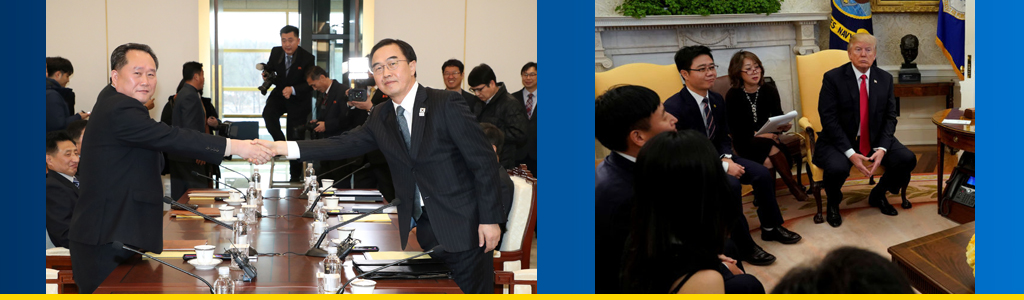 Head of North Korea's delegation on Winter Olympics shakes hands with South Korean counterpart, and US President Donald Trump meets with a group of North Korean defectors