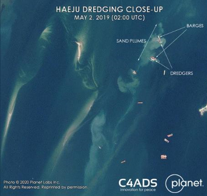 Satellite image shows ships in the waters off the coast of North Korean city of Haeju