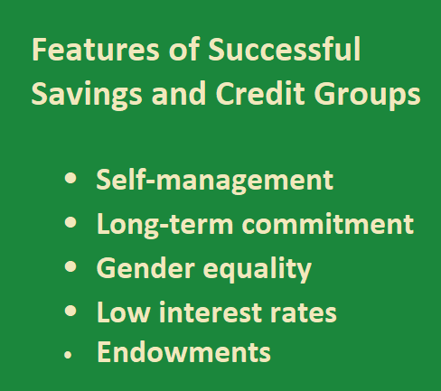 Features of Successful  Savings and Credit Groups   -	Self-management -	Long-term commitment -	Gender equality  -	Low interest rates -	Endowments