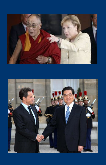 Dalai Lama with Angela Merkel; Nicolas Sarkozy with Hu Jintao