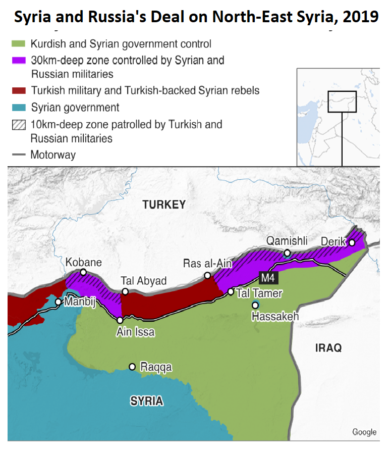 map of nothern Syria showing areas controlled by Russia and Turkey