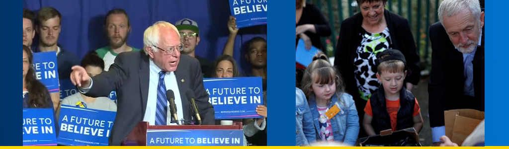 Progressive movements confront populism, resist notions they cannot win elections, and campaign to reduce inequality and widen opportunities; US Senator Bernie Sanders envisions a better future, and Jeremy Corbyn, leader of Britain's Labour Party, helps pack lunches for children