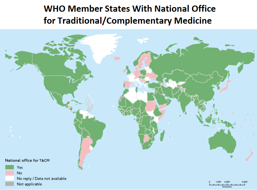 map of world showing countries with national offices on traditional medicine, as listed in WHO global report