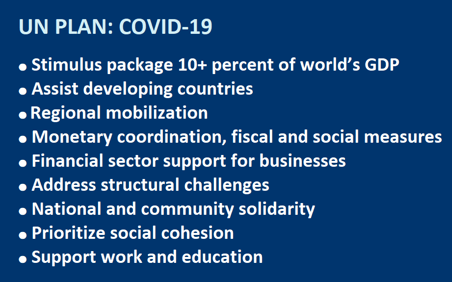 UN PLAN: COVID-19  ● Stimulus package 10+ percent of world's GDP ● Assist developing countries ● Regional mobilization ● Monetary coordination, fiscal and social measures ● Financial sector support for businesses ● Address structural challenges ● National and community solidarity ● Prioritize social cohesion ● Support work and education