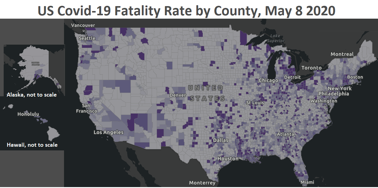Map showing US Covid-19 fatality rate by County Johns Hopkins