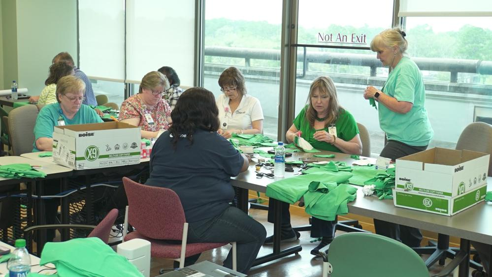 Group of women sew face masks in Albany Georgia