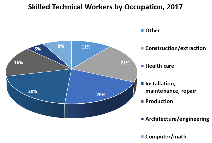 Skilled Technical Workers by Occupation, 2017	 Other	11% Construction/extraction	21% Health care	20% Installation, maintenance, repair	20% Production	16% Architecture/engineering	5% Computer/math	8%