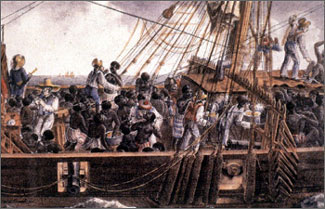 19th-century lithograph of a French ship transporting slaves