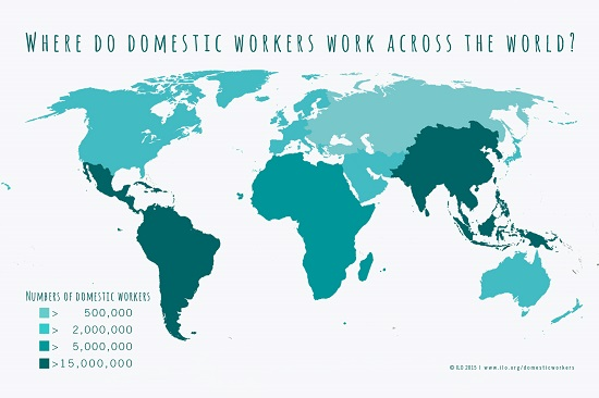 ILO map showing the highest rates of domestic workers in Latin America, South America and South Asia