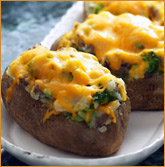 Broccoli stuffed baked potato with cheese