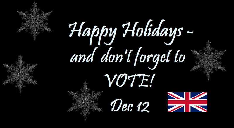 "snowflakes and message ""Happy Holidays and Don't Forget to Vote! Dec 12"