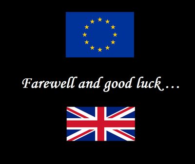 Farewell and good luck ... with EU and UK flags