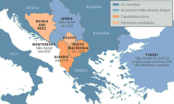 Map of EU candidates for membership eastern Europe and status