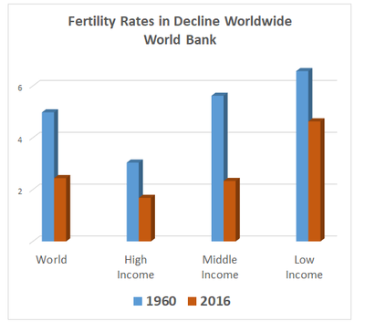 Fertility rates in decline worldwide since 1960 among all income groups