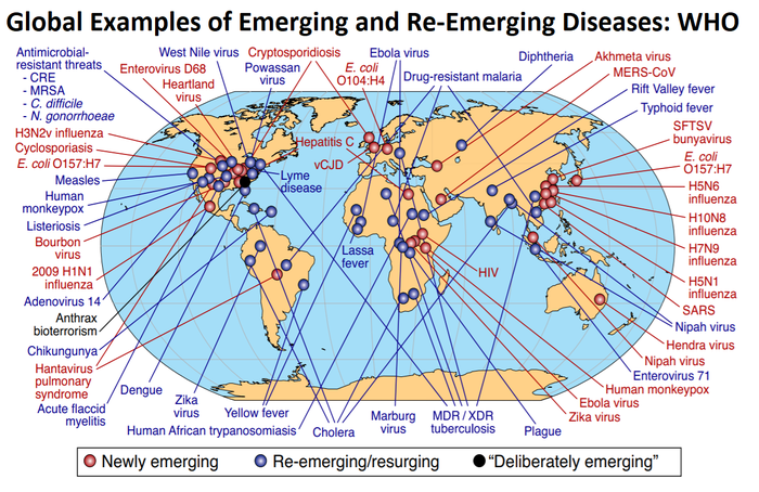 WHO map from World at Risk showing sources of emerging diseases