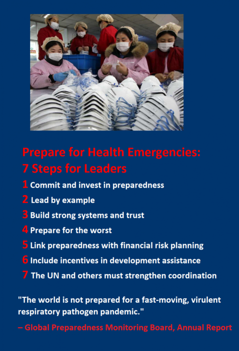 """7 Steps for Leaders  1 Commit and invest in preparedness. 2 Lead by example.  3 Build strong systems and trust 4 Prepare for the worst 5 Link preparedness with financial risk planning 6 Include incentives in development assistance 7 The UN and others must strengthen coordination    """"The world is not prepared for a fast-moving, virulent respiratory pathogen pandemic."""" – Global Preparedness Monitoring Board, Annual Report, 2019"""