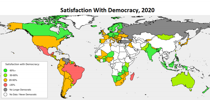 map showing a range of satisfaction levels with democracy around world