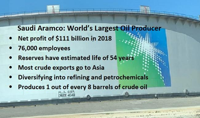 World's Largest Oil Producer  –	Produces 1 out of every 8 barrels of crude oil –	Net profit of $111 billion in 2018 –	Diversifying into refining and petrochemicals  –	Reserves have estimated life of 54 years –	Most crude exports go to Asia  –	76,000 employees